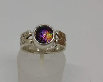 Handmade fused glass ring handmade silver gold plated purple glass dichroic handcrafted sterling silver fashion art accessory statement ring