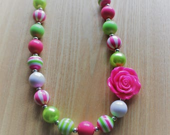 Pink White Green Chunky Bead Necklace with Flower Pendant