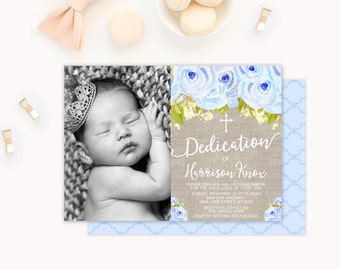 Baby Dedication Invitation, Boy Baby Dedication Invitation, Boy Baptism Invitation, Baptism Invitation Boy, Christening Invitation, Baby Boy