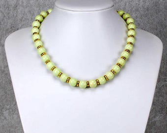 Green Lemon Chrysoprase Necklace with Gold Ceramic Elements