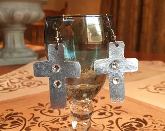 Silver Cross Earrings with crystals