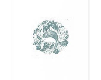 Hedgehog Art Print // Hedgehog illustration, Hedgehog Print, Illustration, Wall print,