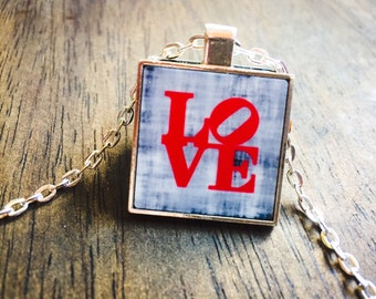 Philadelphia Love, Love Statue, Robert Indiana Love, Love Necklace, Love Jewelry, Personalized Jewelry, Custom Necklace, Lobster Clasp Gift