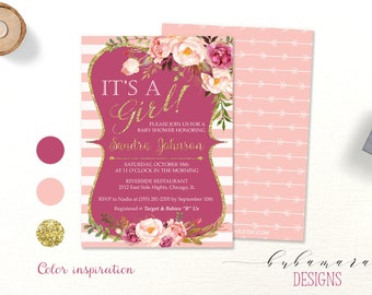 Pink It's a Girl Baby Shower Invitation Blush Baby Shower Invite Bohemian Invitation Gold Glitter Floral Baby Shower Invite - CS012