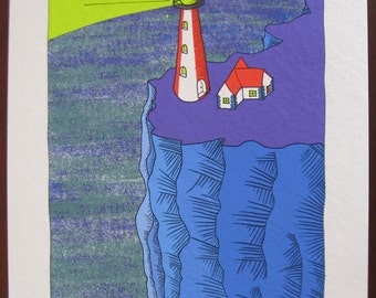 Lighthouse with blue cliffs and purple grass