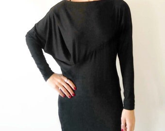 NEW-Black Asymmetric Oversized Women's Shirt/Bat Sleeves Black Blouse/Black Minimalist Top