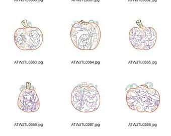 Stuffed-Pumpkins 5X7  ( 10 Machine Embroidery Designs from ATW )  XYZ17B