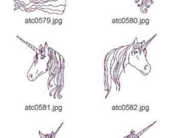 Fantasy-Unicorns ( 10 Machine Embroidery Designs from ATW ) XYZ17D