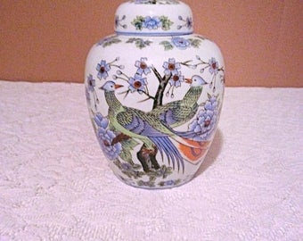 Ucgc Ginger jar, peacock and blue flowers Japanese Ginger jar, vintage condiment container.