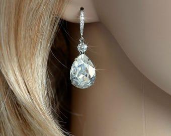 Rhodium, Yellow or Rose Gold -- Handmade Swarovski Teardrop Dangle Bridal Earrings, Bridal, Wedding (Sparkle-2318)