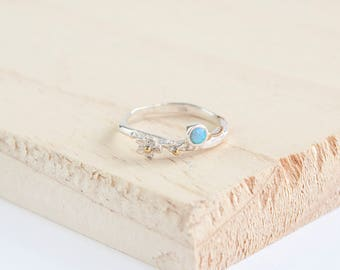 Amisi Flower Ring, Sterling Silver, Opalite, Opal Ring, Silver Flower Ring, Stacking Ring, Flower Jewelry, Opal Flower Ring, Opal Jewelry