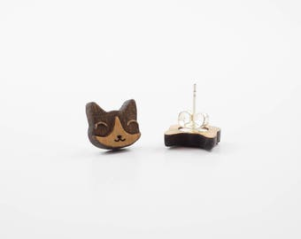 Tuxedo Cat Earrings | Wood Earrings | Laser Cut Wood | Stud Earrings | Cat Jewelry | Crazy Cat Lady | Cat Lover | Cat Themed Gift | Meow