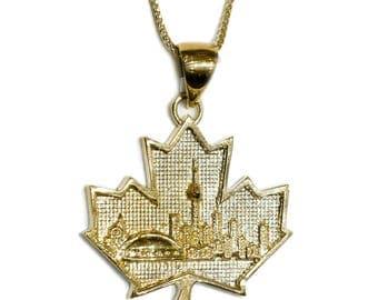 COMBO: 10K Gold Toronto Skyline Pendant & 28 Inch 10K Gold Solid Franco Chain