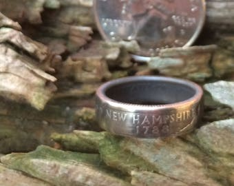 New Hampshire state quarter coin ring