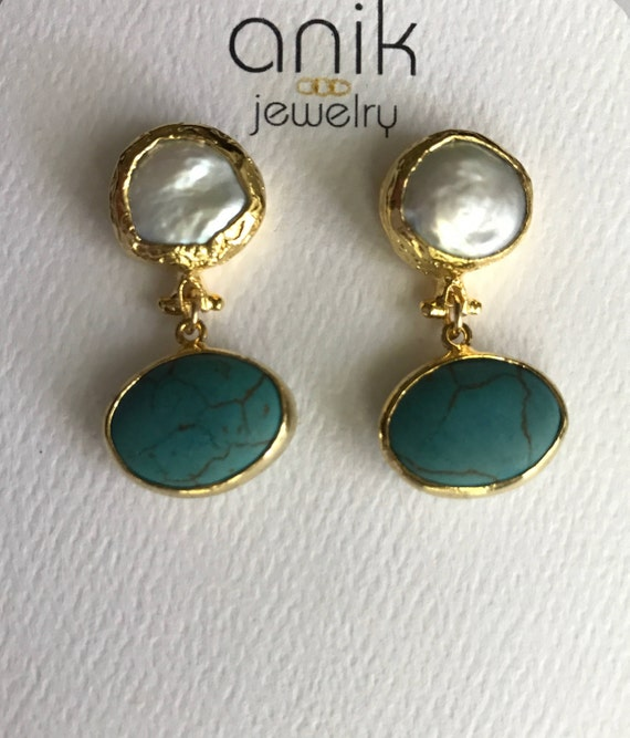 """Pearl and Turquoise Earrings, Gold Bezel Keshi Pearls, Oval Turquoises, 14K Gold Plated, 1.25"""" Long"""