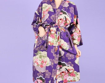 Gorgeous 90s Vintage Purple Gold Kimono Style Gown Robe