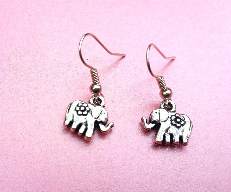 sale silver elephant earrings elephant dangle earrings