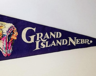Grand Island, Nebraska - Vintage Pennant