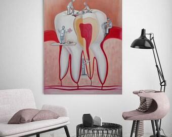 Original oil painting, dentist, doctor, dentist, tooth, unique, fantasy painting, painting, fantasy