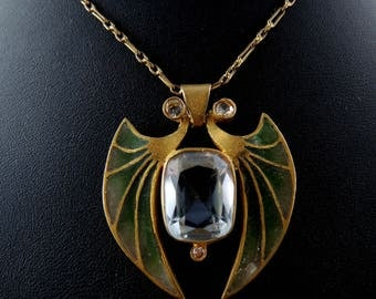 Art Nouveau necklace gold, email explained-to-day - Circa 1910 / / / Art Nouveau necklace with enamel explained-update - Circa 1910