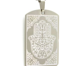Personalized Stainless Steel Laser Etched Hamsa Dog Tag Necklace