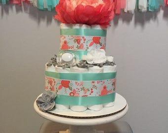 Mini Teal and Coral Diaper Cake