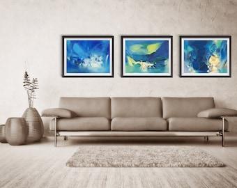Abstract Print Set of THREE, Abstract, Giclee Print, Blue Abstract, Large Abstract Print, home decor, wall print, ZDQ75083