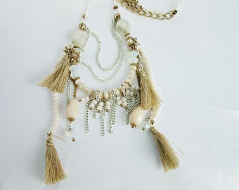 Necklace, rose and white, filigree, tassel, jewelry,