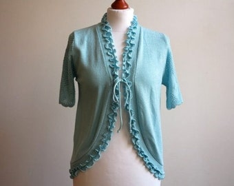 Turquoise Blue Knitted Vest with Ruffled Trim Short Sleeves Jacket Knitted Summer Cardigan Medium Size