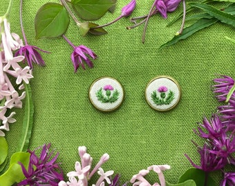 Hand Embroidered Thistle Earrings//Scottish Thistle Silk Embroidery Earring
