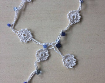 White and Blue Doily Necklace