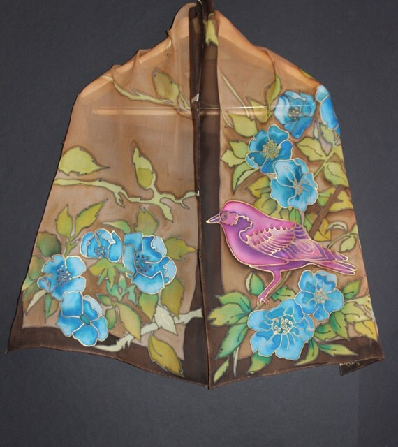 Hand painted silk scarf,Long painted chiffon scarf,Brown ivory purple,Gold bird,Floral,Blue flowers,Animal scarf,Nature,Gift for her,Batik