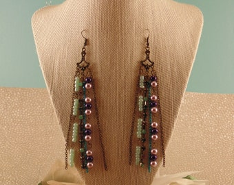 Purple and blue chandelier tassel earrings, Rhinestone, Pearl, Gifts for her,  Dangle earrings, Funky and fun, Costume jewelry