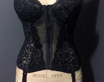 Retro Vintage Black Lace Corset / Bustier