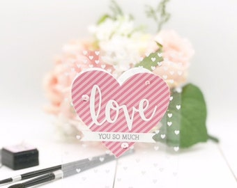 Love You Card - Pink Valentine's Day Card - See Through Card - Card for Valentine's Day - Love You So Much Card