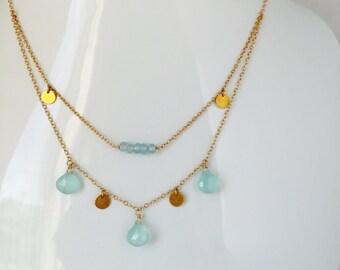 Aquamarine Necklace, Gold Coin Necklace , Charm Neckalce, Layering Necklace , Agua Briolette Necklace, Gemstone Necklace , Bridal Neckalce