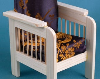 ARMCHAIR Recliner DOLLHOUSE Wooden Collectible Furniture 16 Playscale 12 Dolls Accessories Momoko YOSD