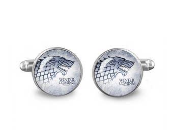 Game of Thrones Cuff Links Stark Wolf Cuff Links 16mm Cufflinks Gift for Men Groomsmen Novelty Cuff links Fandom Jewelry