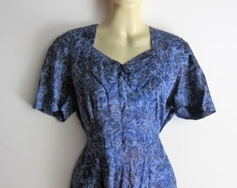 Blue dress 1940 1950 BLAKELY FASHIONS T38 50s carnations flowers