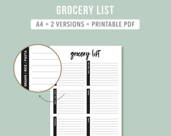 Minimalistic Grocery List PDF / Intentional Grocery List / Printable Grocery Shopping List / Shopping List Printable / Grocery Planning