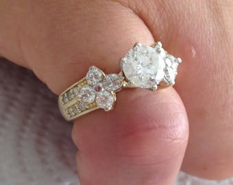 Certified 2.00 CT Round cut Diamond engagement Ring 14k yellow gold  hand made