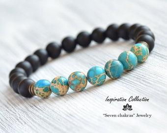 8mm Blue Imperial Jasper Onyx Bracelet, Mens Bracelet, Mala beads, Womens Turquoise Black Bead Bracelet, Yoga Bracelet, Gift for her or him