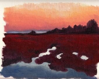 Marshland Sunset 05 - Landscape Study