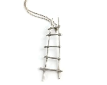 Ladder Necklace  *  Sterling Silver Unique Artisan Pendant Hand Wrought and Forged