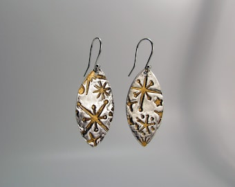 Item 4232 - Fine and Sterling Silver Lightweight Marquis Shaped Drop Earrings with Gold Vintaj Patina