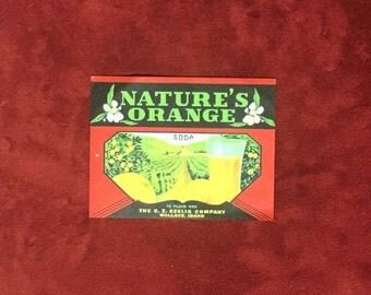 Nature's Orange Soda Bottle Label - The C.Z. Seelig Company-Wallace Idaho
