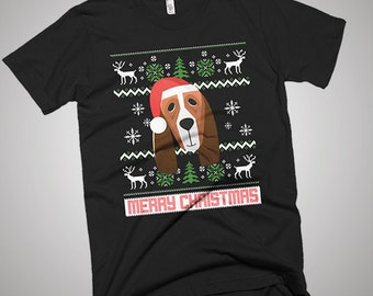 Basset Hound, Christmas Basset Hound, Basset Hound Santa, Basset Hound T-shirt, Basset Hound Shirt, Basset Hound Gift, Dog Lover, Snow