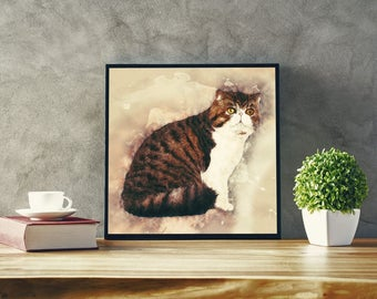 Shorthair Persian Cat Art Abstract Cat Poster Modern Art Canvas with Cat Contemporary Art with British Shorthair Art Cat Painting Print