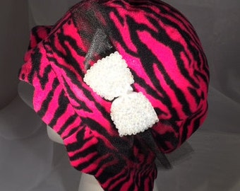 Pink & black animal print cloche hat
