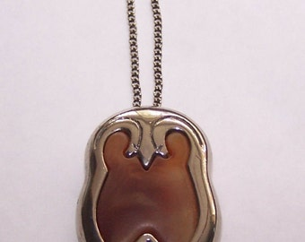 Brown Stone and Silver Pendant Necklace